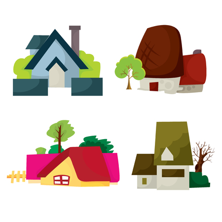 architecture bungalow: A set of cartoon vector illustration of four different residential homes. Illustration