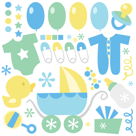 diaper pin: A set of cute cartoon vector illustration retro baby boy clip art. Illustration