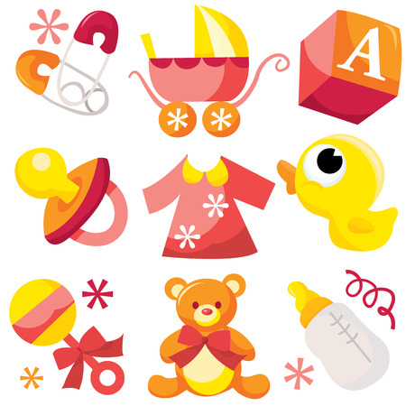 pajama: A vector illustration of cute baby boy icons like nappy pins, pacifier and baby toys.