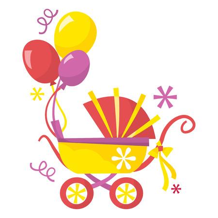 15 18: A cartoon vector illustration of cute retro pram with balloons. Illustration