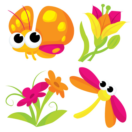 dragon fly: Cute cartoon insects and flowers vector illustration.