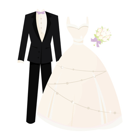 celebratory event: Bride dress and groom suit vector illustration.