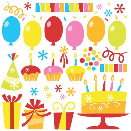 a vector illustration of retro surprise birthday party clip arts