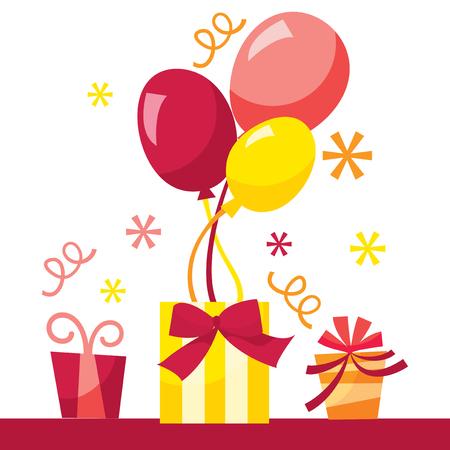 suprise: Retro balloon gifts stock vector illustration.