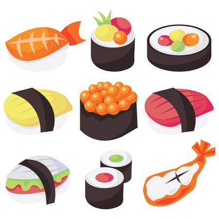A vector illustration set of nine different types of sushi. Illustration