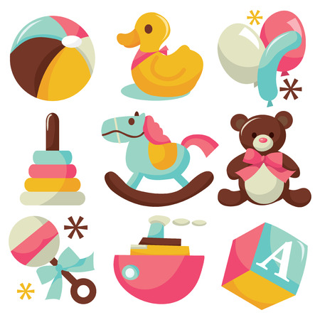 rattles: A vector illustration of cute childrens toys like rubber ducks, balloons,rattles, ball and etc.