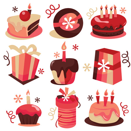 torte compleanno: A vector stock illustration of set of cute birthday cakes with gifts. Vettoriali