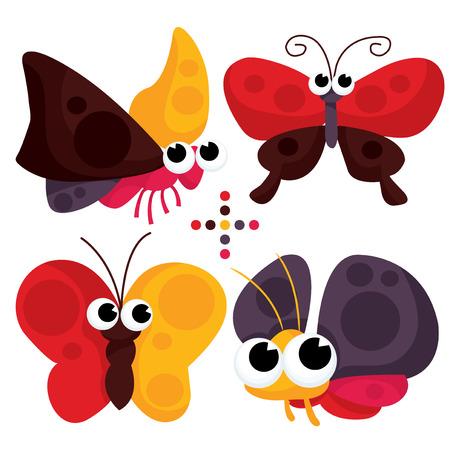 cartoon mariposa: Un conjunto de mariposas de dibujos animados lindo del vector de la ilustraci�n. Vectores