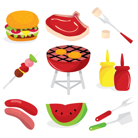 A set of vector illustration barbecue related icons.