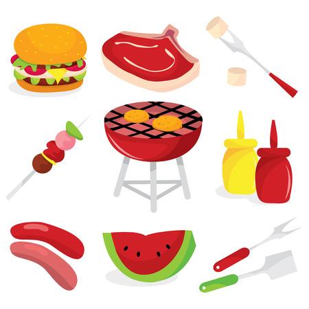 brochetas de frutas: Un conjunto de iconos relacionados con la ilustración vectorial de barbacoa.