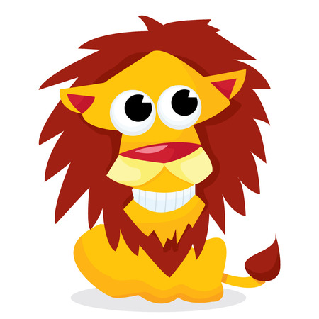 undomesticated cat: A cartoon vector illustration of a smiling and happy lion.