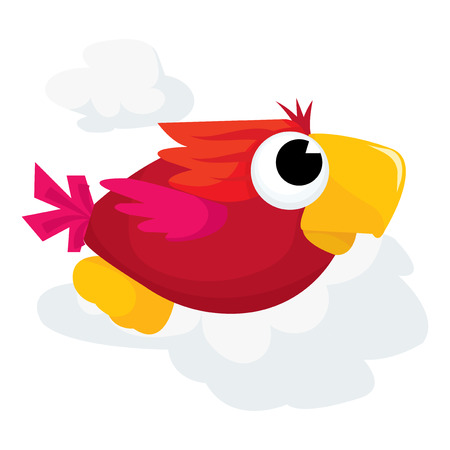 descriptive colour: A cute flying parrot cartoon vector illustration.