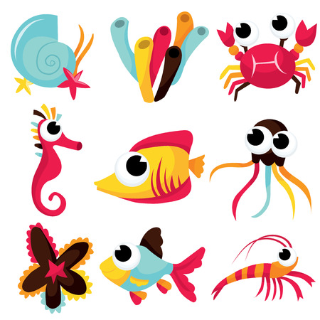 sea creatures: A selection of rainbow colored sea creatures cartoon vector illustration. Illustration