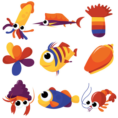 A colorful mix of different sea creatures cartoon stock illustration. Vector