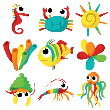 A set of fun and happy sea creatures vector cartoon illustration.
