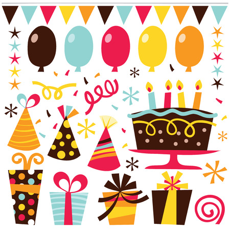 streamer: A vector illustration set of cute retro birthday clip arts such as balloons, streamers, stars, birthday cake, gifts and confetti.