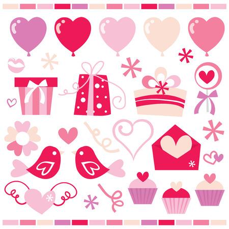 clip arts: A set of cute and sweet retro romance clip arts stock vector illustration.