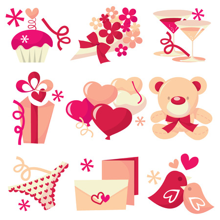 A vector illustration set of nine different valentines day related design elements.