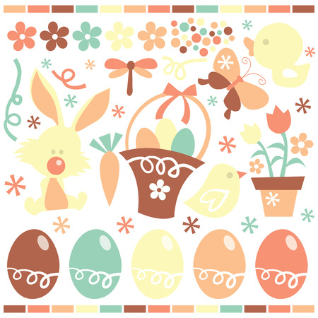 public celebratory event: A stock vector illustration collection of cute retro easter and spring related clip arts.
