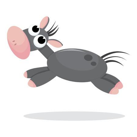 animal themes: A jumping gray cartoon donkey vector illustration.