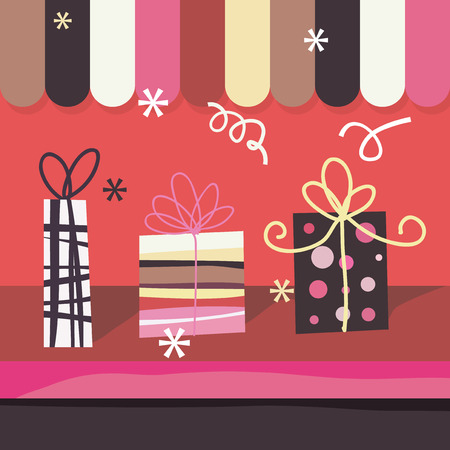 window display: A fun cute vector stock  illustration of a gift shops window. Illustration