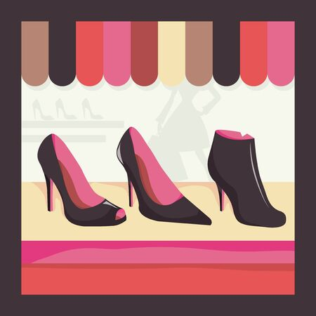 window display: A cute window display of shoes of a shop vector illustration. Illustration