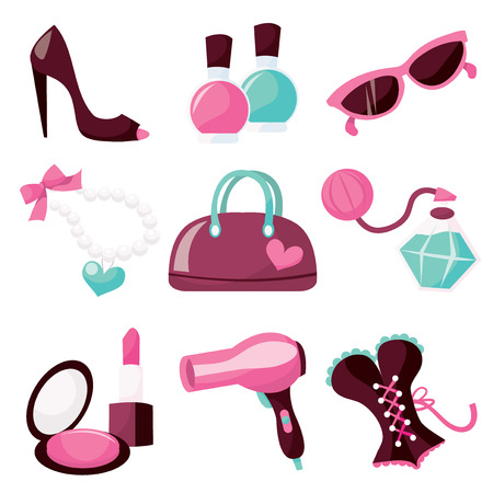 A vector illustration collection of cute girly objects from lingerie to accessories. Vector