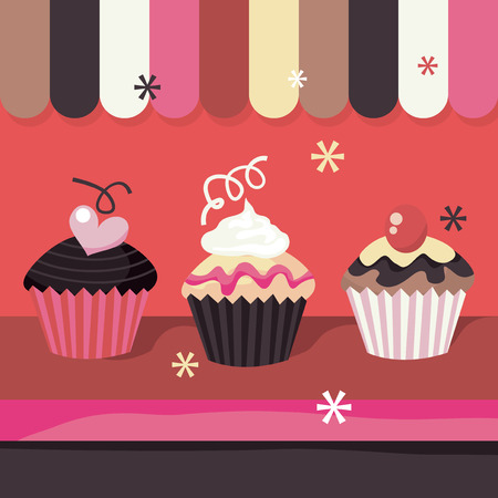 indulgence: A cute window display of a cupcake shop stock vector illustration.