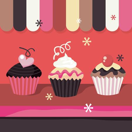 window display: A cute window display of a cupcake shop stock vector illustration.