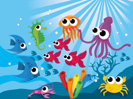 Colorful world of cartoon vector illustration of cute sea creatures.