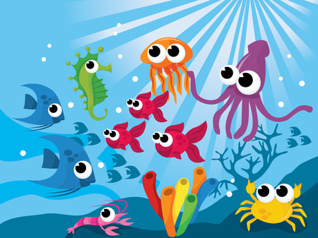 sea creatures: Colorful world of cartoon vector illustration of cute sea creatures.