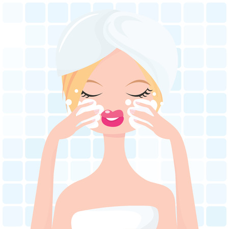A stylish vector illustration of a cute girl washing her own face in a bathroom.