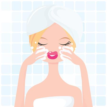 Une illustration élégante d'une jolie fille lavant son propre visage dans une salle de bains.