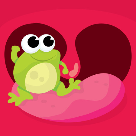 A cartoon vector illustration of a a frog in throat english idiom.