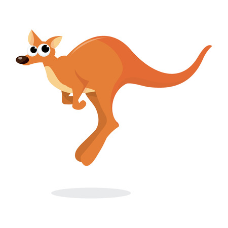 hopping: A cartoon vector illustration of a kangaroo hopping.