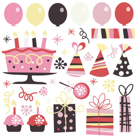 suprise: A vector illustration of surprise birthday elements like balloons, gifts, cupcakes, cake, ribbons, stars and confetti. Illustration