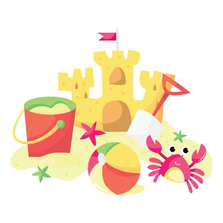 kids playing beach: A cartoon vector illustration of sandcastle, bucket, beach ball and cartoon pink crab.