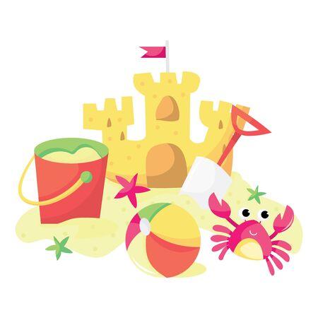 cangrejo: Una ilustración vectorial de dibujos animados de castillos de arena, cubo, pelota de playa y de dibujos animados cangrejo rosa.
