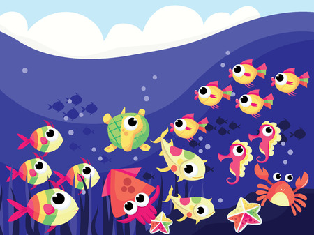 A vector illustration background scene from under the sea with many different colorful cartoon sea creatures. Vector