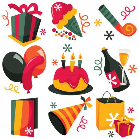 clip arts: A stock vector illustration set of cute fun retro party clip arts.