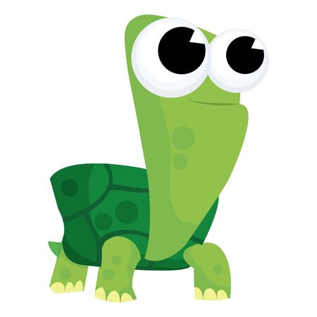 saurian: A cute cartoon green turtle vector illustration. Illustration