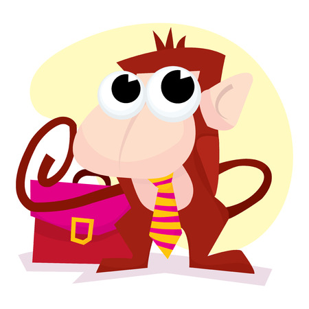 mischief: Cute cartoon business like monkey with tie and briefcase vector illustration. Illustration