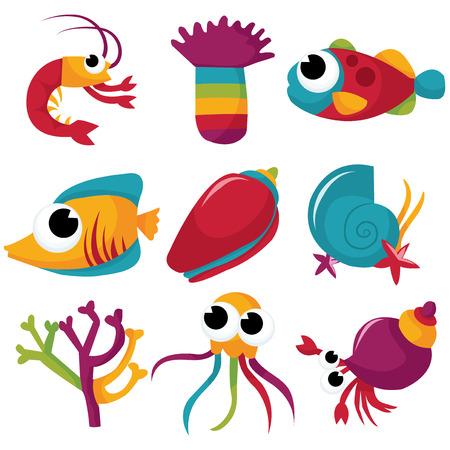 A set of colorful sea creatures cartoon vector stock illustration.