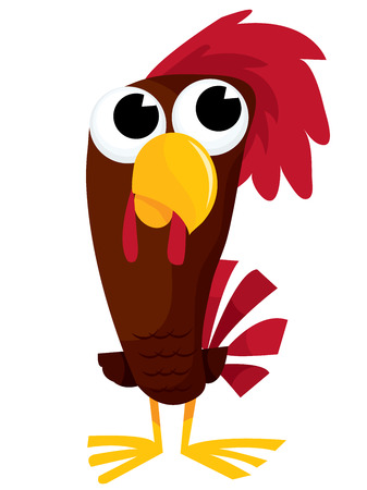 crowing: A cute brown cartoon rooster vector illustration