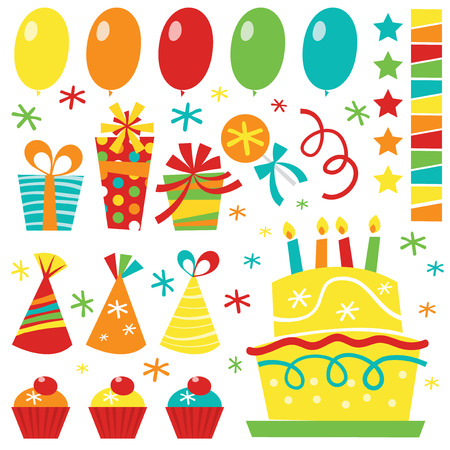 suprise: A stock illustration vector set of cute retro birthday clip arts such as balloons, streamers, stars, birthday cake, gifts and confetti.