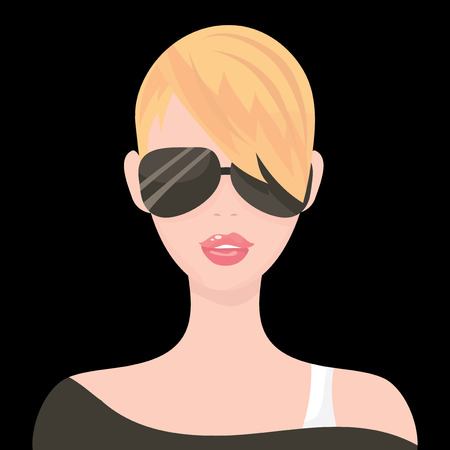 punk hair: A rock chick with sunglasses vector fashion illustration..