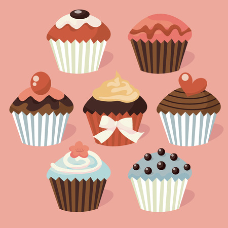 indulgence: A set of nine different cute cupcakes vector stock illustration.