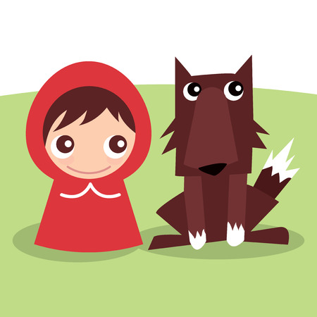 An unlikely couple of cute little red ridding hood and wolf cartoon vector illustration.