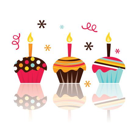indulgência: Três pouco cupcakes bonitos estoque de ilustração vetorial.