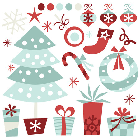 A retro inspired quirky christmas clip arts stock vector illustration. Illusztráció